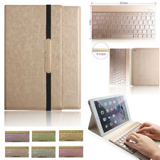 Ipad 2 3 4 Leder Case Cover Hülle mit beleuchtet Bluetooth Tastatur Qwertz Gold