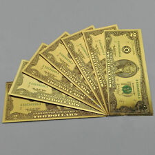 100pcs USD $2 dollar 24K Gold Foil Golden Paper Money UNC  Banknotes Crafts