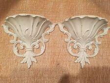 Pair Shabby Chic Vintage Home Interiors Homco Syroco Wall Pocket Flower Holder