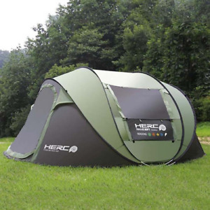 3-4Person Ultra large Automatic Windproof Pop Up Fast Opening Camping Beach Tent