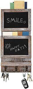 Wall Rustic 2 Slot Wooden Mail Sorter Organizer Chalkboard Surface 3 Dbl Hooks