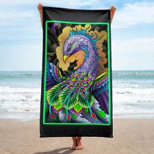 Purple Bird of Paradise Tattoo Beach Towel