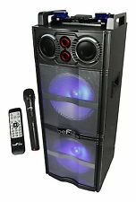 "BEFREE SOUND DUAL 10"" SOBWOOFER BLUETOOTH PORTABLE DJ PA PARTY SPEAKER MIC USB"