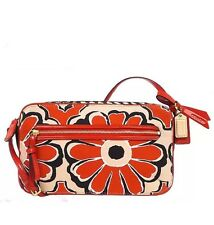 New Coach Poppy Floral Scarf Flight Crossbody Bag in Desert Sky/Neutral #25121