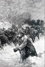 Fire During NYC Blizzard 1888 FIRE ALARM FIREMEN in SNOW PULLING WAGON Art Print