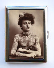 Tattooed Women Cigarette Case Wallet Business Card Holder victorian circus