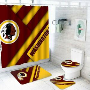 Washington Redskins Bathroom Rugs Set 4PCS Shower Curtain Toilet Seat Mat Cover