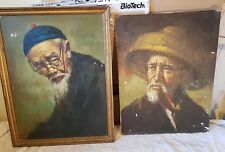 Highly Skilled Chinese Portrait Oil Paintings Old Men by Master Artist 1930s-50s