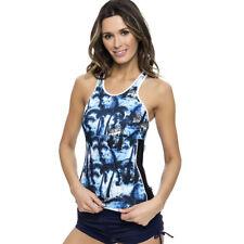 Women Blue Tropical Print Tankini Swimsuit Padded Swimwear BeachWear UK12-18