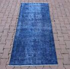 Anatolian Overdyed Runner Rug Cappadocia Hand Knotted Blue Ethnic Carpet 3x6 ft