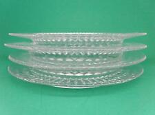"Four Unbranded Clear Glass 8"" Round Sunburst Pattern Salad Dessert Dinner Plate"
