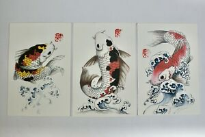 Trio Of Hand Painted Oriental Carp Pictures, Postcard size, With Stamped Mark