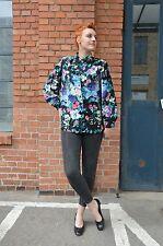 Bluse Hemd Blumen Rose Blumenmuster blouse Viskose schwarz 90er True VINTAGE 90s