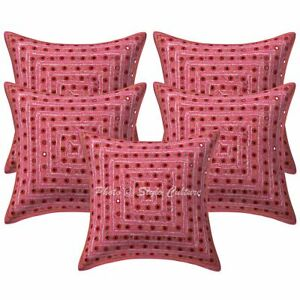 Indian Decorative Sofa Cushion Covers 16x16 Embroidered Cotton Boho Pillow Cases