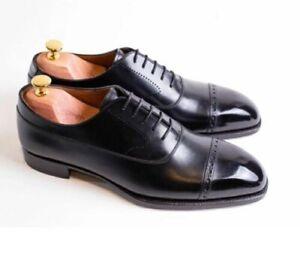 Handmade Men Oxfords Shoes, Men black leather brogue dress shoes