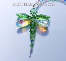 m/w Swarovski Crystal BIG Peridot Green Dragonfly Suncatcher Lilli Heart Designs