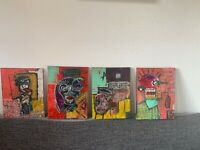 4 X Graffiti Original Straßenkunst Gemälde Leinwand Modern Abstrakte Unikat