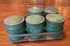 Antique Round Green Spice Tins Rack Toleware Old Green Paint Vermont Farmhouse