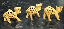 More details for set of 3 hand carved wooden camels handmade