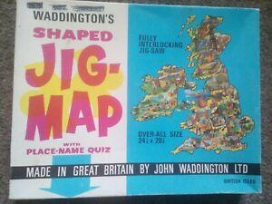 Vintage 1970s Waddingtons British Isles Place-Name Quiz Jigsaw Puzzle