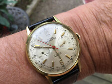 Vintage Swiss Emperor Chronograph Mans Gold Watch No Reserve