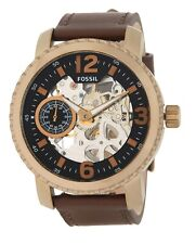 Fossil Nate Mechanical 50mm Skeleton Dial Brown Leather Men's Watch BQ2274