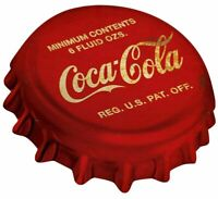COCA COLA RED WHITE BOTTLE CAP HEAVY DUTY USA MADE METAL SODA ADVERTISING SIGN