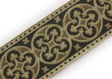 "2¼"" Vestment Jacquard Trim Pugin Cross Cappuccino & Gold GothicTrefoil 3 Yds DIY"