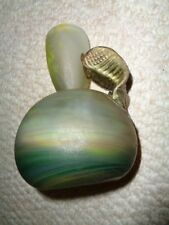 Rare Loetz style hand blown art glass bulbous bottom bottle top frosted yellow