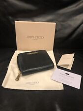 Authentic Jimmy Choo Black Leather Zip Around Wallet