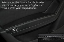 GREY STITCH 2X FRONT DOOR ARMREST SKIN COVERS FITS AUDI A4 B8 2007-2013