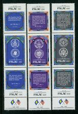 Palau stamps:1987 the 200th Anniv. of USA Constitution; Full set,3 strips, MNH 2