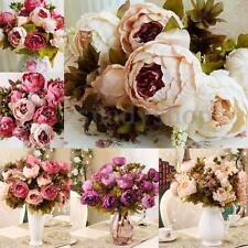 Bride Bouquet 10 Head Artificial Peony Silk Flower Leaf Wedding Party Home Decor