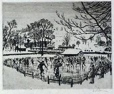 WALTHER KLEMM - Schlittschuhläufer - Radierung 1918