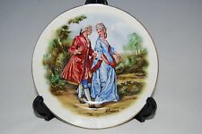 "David Porter & Son Duns porcelain plate signed ""M Langley ??""Man pink lady blue"