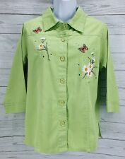 Las Olas Emboidered Blouse Sz Medium Green Floral 3/4 Sleeve Button Down Top