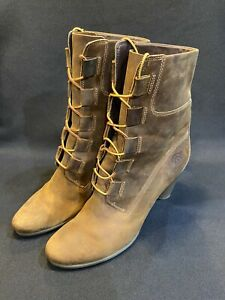 Timberland Expresso Brown Leather Boots-Lace Up High Heel Sz.9.5M