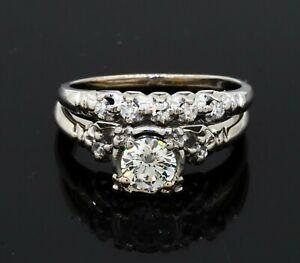 Antique 14k white gold 0.85ct VS1-G diamond bridal ring set size 7