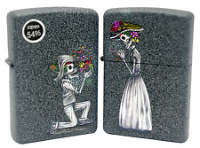 Zippo 28987 Skeleton Love Skull Flowers Set of Two Iron Stone Finish Lighter New