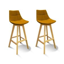 Lot 2 Tabourets de bar jaune style scandinave - WENDY
