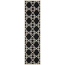 "Safavieh Flat weave Black/ Ivory Wool 2' 6"" x 10' Runner"