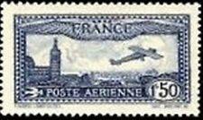 "FRANCE  YVERT AIR POST 6 SCOTT C6 "" VIEW OF MARSEILLE 1F50 BLUE "" MNH VVF"