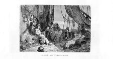 Stampa antica PESCATORI in siesta sulla barca da pesca Liguria 1877 Old print