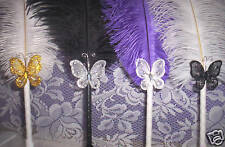 BEAUTIFUL BUTTERFLY FEATHER PENS~AWESOME COLORS!NEW COLORS PINK-PURPLE-TURQUOISE