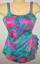 MAXINE OF HOLLYWOOD - FLORAL PRINT  - TANK STYLE SWIMDRESS - 12