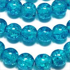 Lot de 30 Perles Craquelées en Verre 8mm Bleu