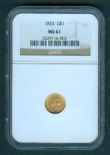 1853 US Liberty Head $1.00 United States of America GOLD COIN MS61
