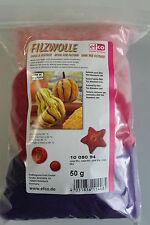 Filzwolle Reine Schurwolle zum Nass und Trockenfilzen 50 gr. rosa Mix