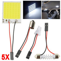 5PCS White 48 SMD COB LED T10 4W 12V Car Interior Panel Lights Dome Lamp Adapter