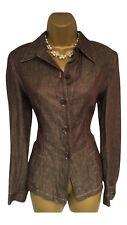 Nouveau-Max Mara Brown Pure chemise lin blazer jacket it 42 UK 10